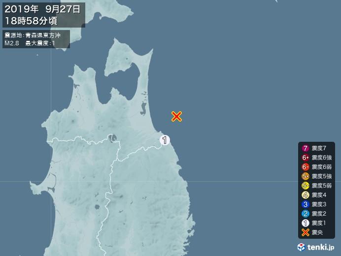 地震情報(2019年09月27日18時58分発生)