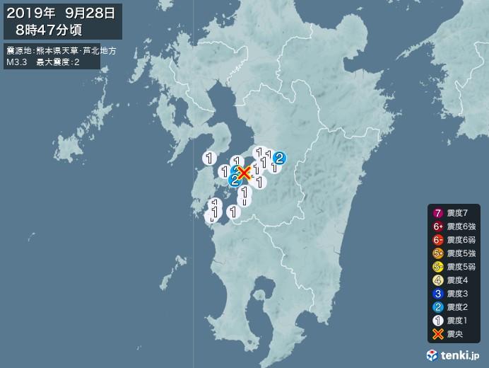 地震情報(2019年09月28日08時47分発生)