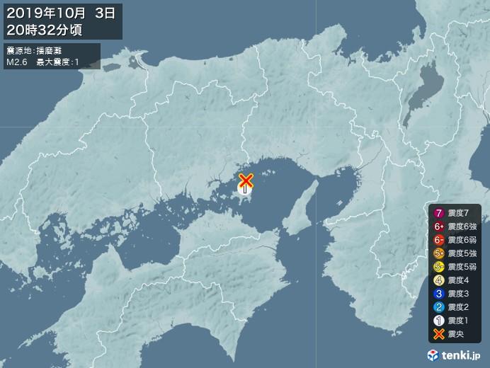 地震情報(2019年10月03日20時32分発生)