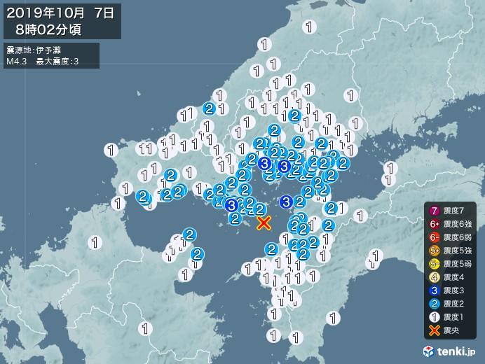地震情報(2019年10月07日08時02分発生)