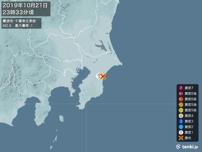 地震情報(2019年10月21日23時33分発生)