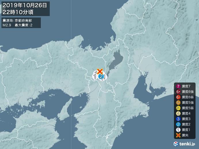 地震情報(2019年10月26日22時10分発生)
