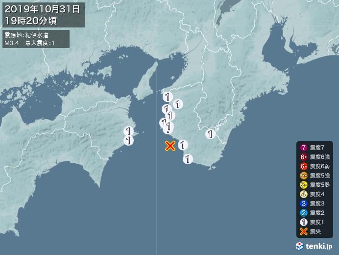 地震情報(2019年10月31日19時20分発生)