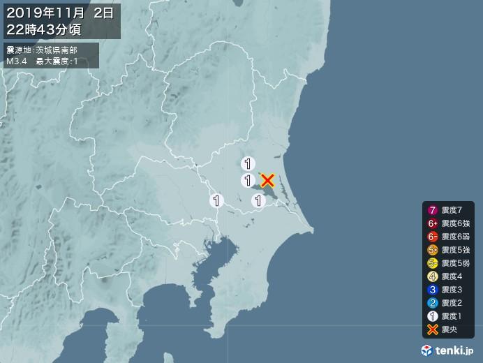 地震情報(2019年11月02日22時43分発生)