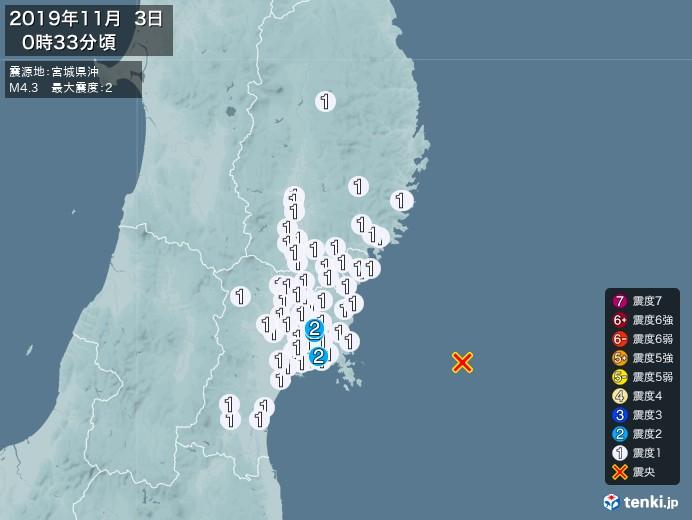 地震情報(2019年11月03日00時33分発生)