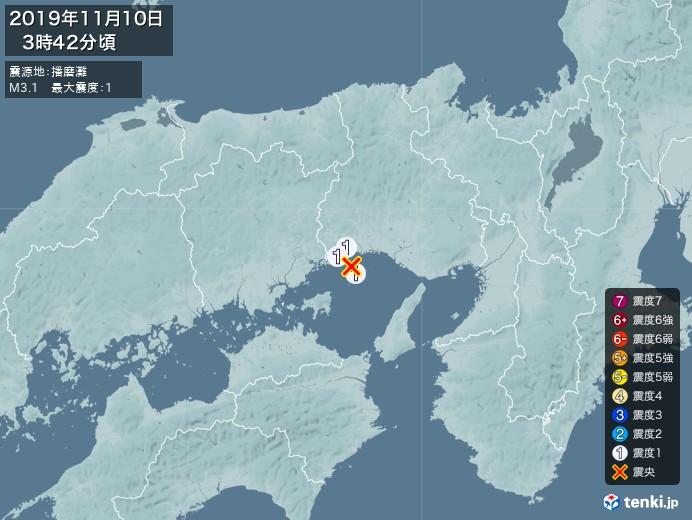 地震情報(2019年11月10日03時42分発生)