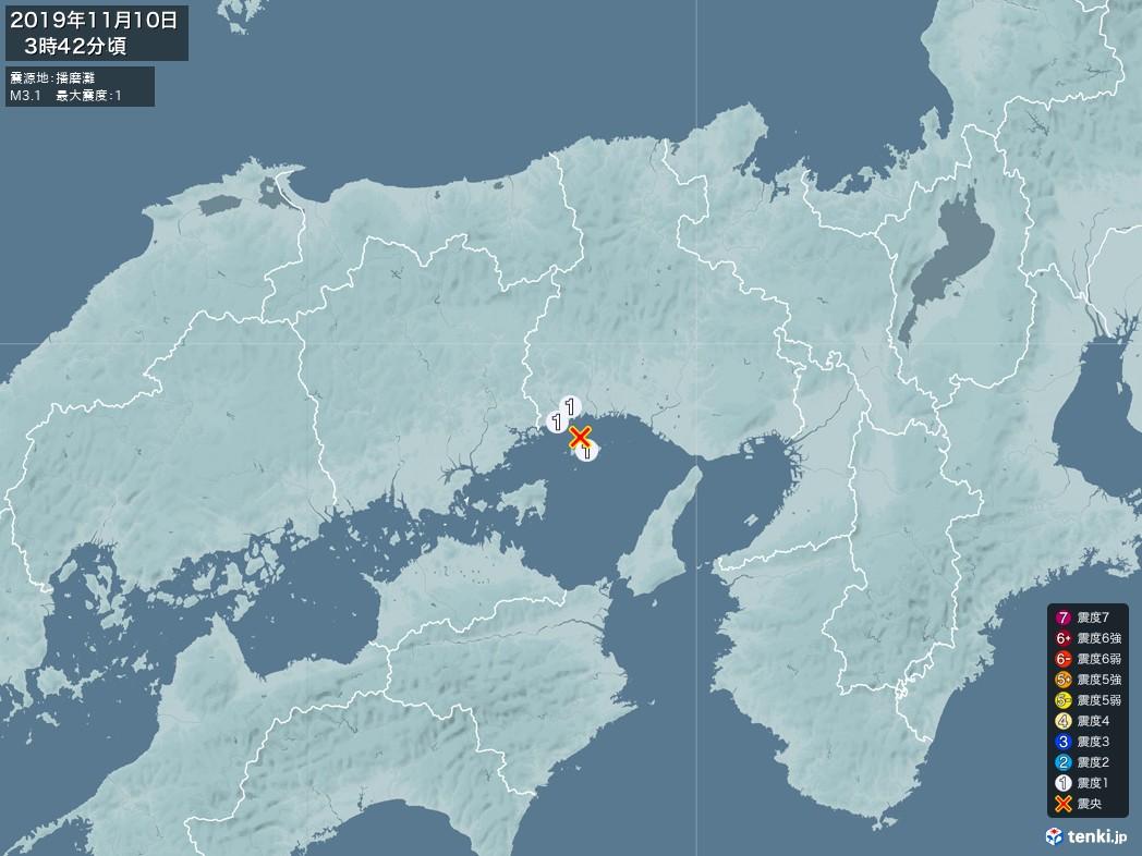 地震情報 2019年11月10日 03時42分頃発生 最大震度:1 震源地:播磨灘(拡大画像)