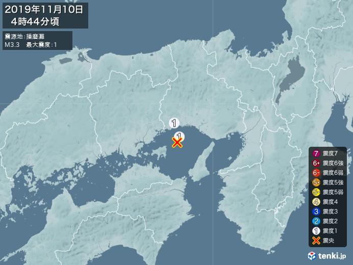 地震情報(2019年11月10日04時44分発生)
