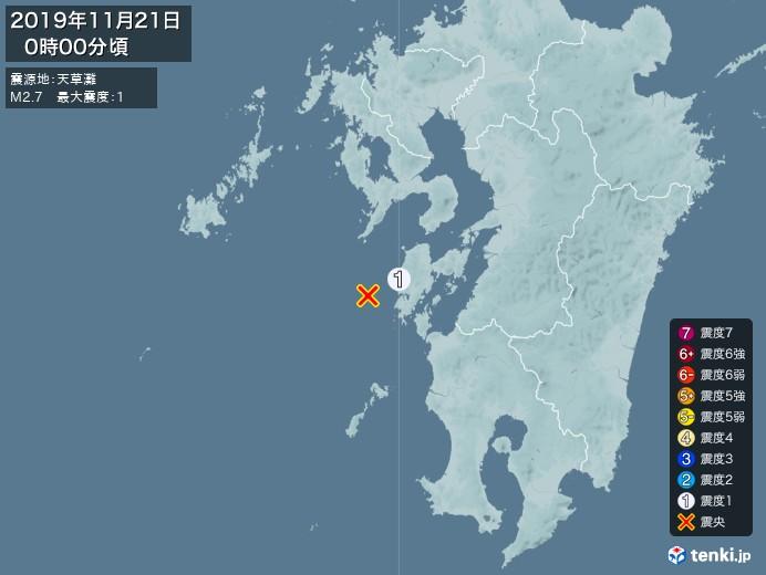 地震情報(2019年11月21日00時00分発生)