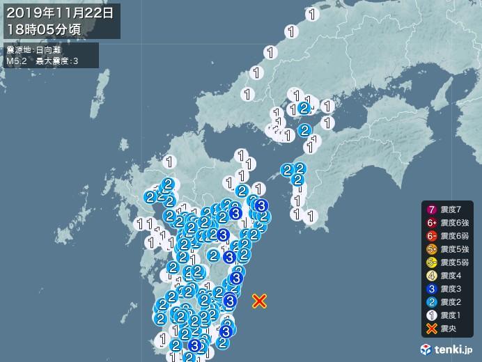 地震情報(2019年11月22日18時05分発生)