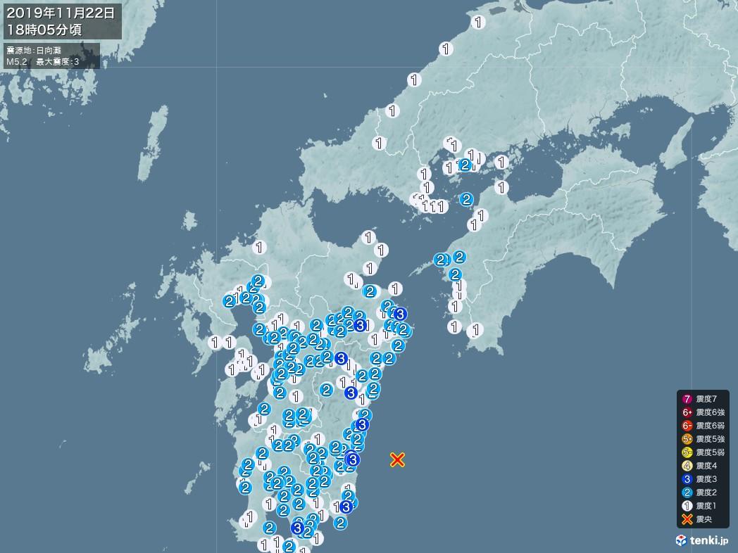 地震情報 2019年11月22日 18時05分頃発生 最大震度:3 震源地:日向灘(拡大画像)