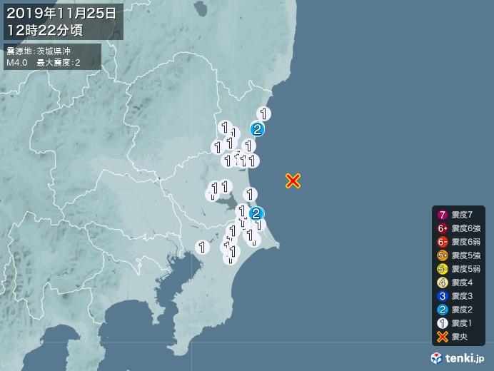 地震情報(2019年11月25日12時22分発生)