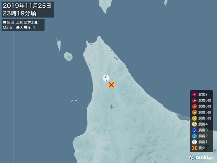 地震情報(2019年11月25日23時19分発生)