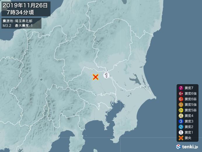 地震情報(2019年11月26日07時34分発生)