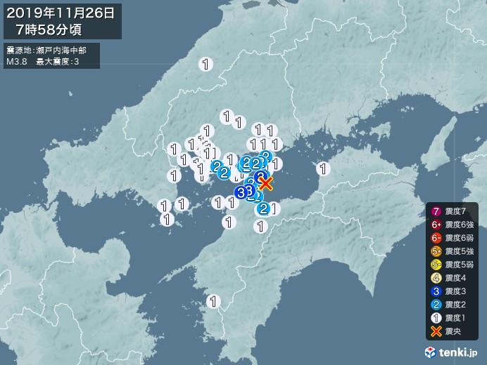地震情報(2019年11月26日07時58分発生)