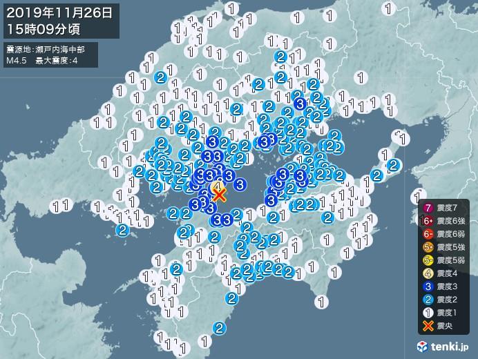 地震情報(2019年11月26日15時09分発生)