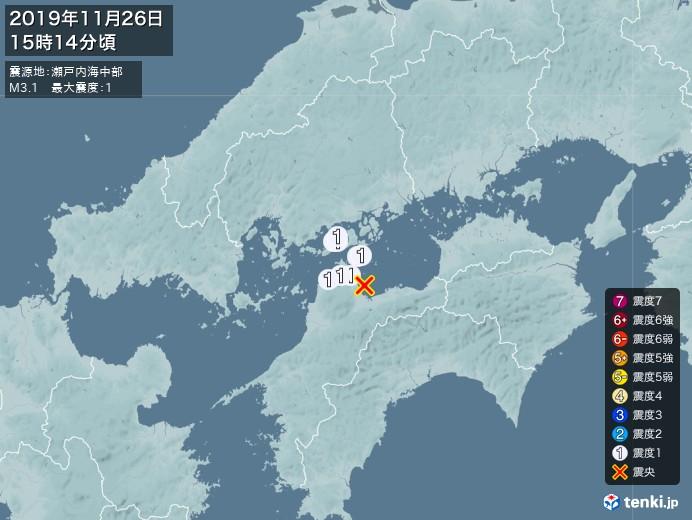 地震情報(2019年11月26日15時14分発生)
