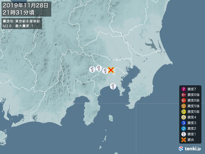 地震情報(2019年11月28日21時31分発生)