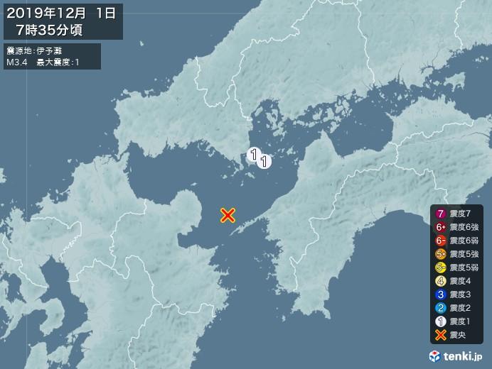 地震情報(2019年12月01日07時35分発生)
