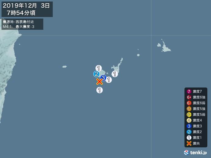 地震情報(2019年12月03日07時54分発生)