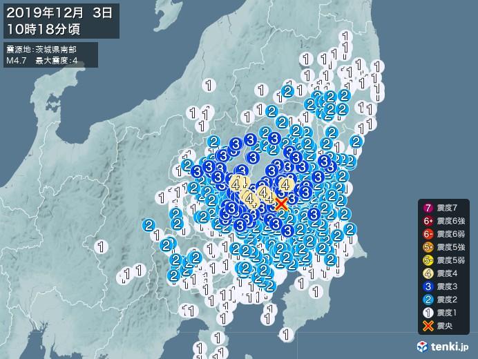 地震情報(2019年12月03日10時18分発生)