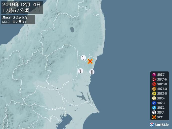 地震情報(2019年12月04日17時57分発生)