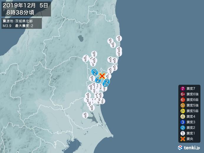 地震情報(2019年12月05日08時38分発生)