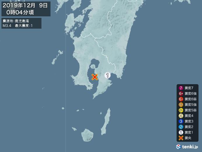 地震情報(2019年12月09日00時04分発生)