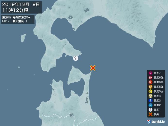 地震情報(2019年12月09日11時12分発生)