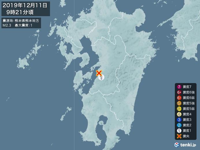 地震情報(2019年12月11日09時21分発生)