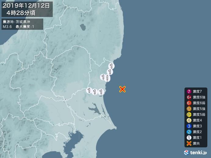 地震情報(2019年12月12日04時28分発生)
