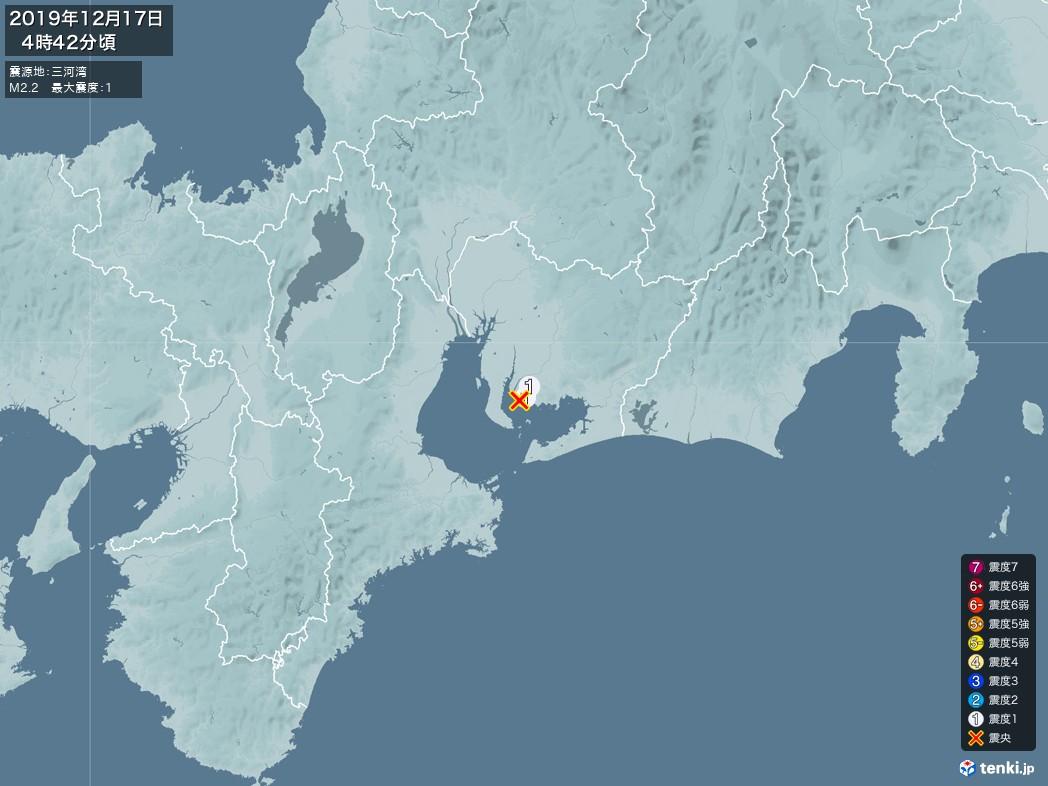 地震情報 2019年12月17日 04時42分頃発生 最大震度:1 震源地:三河湾(拡大画像)