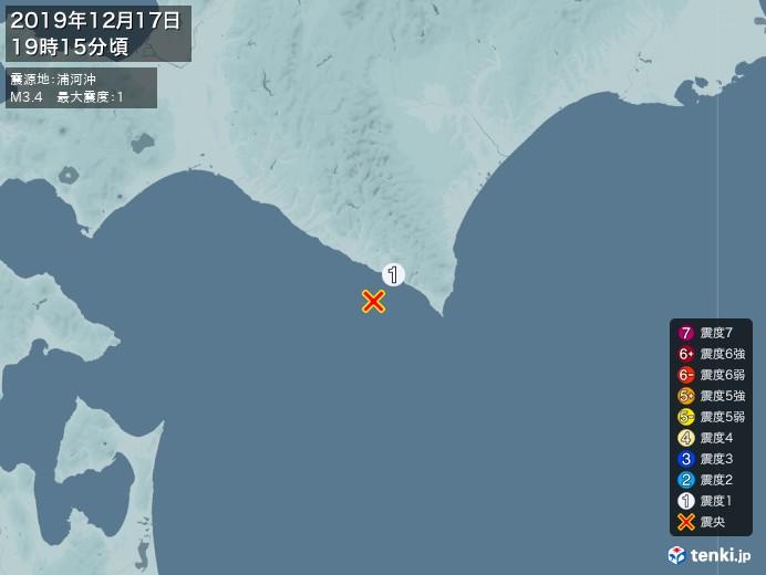 地震情報(2019年12月17日19時15分発生)