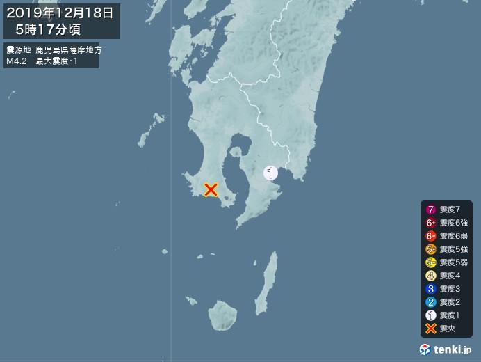 地震情報(2019年12月18日05時17分発生)