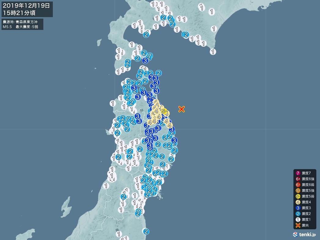 地震情報 2019年12月19日 15時21分頃発生 最大震度:5弱 震源地:青森県東方沖(拡大画像)