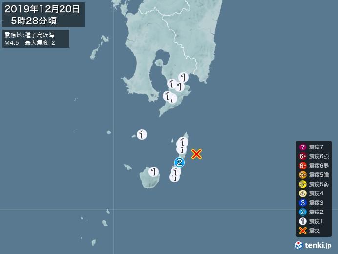 地震情報(2019年12月20日05時28分発生)