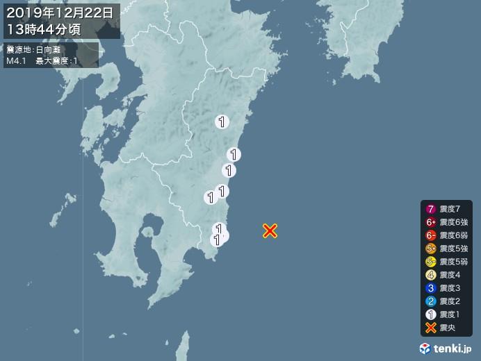 地震情報(2019年12月22日13時44分発生)