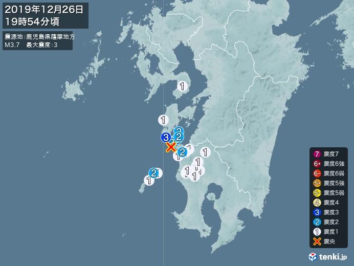 地震情報(2019年12月26日19時54分発生)