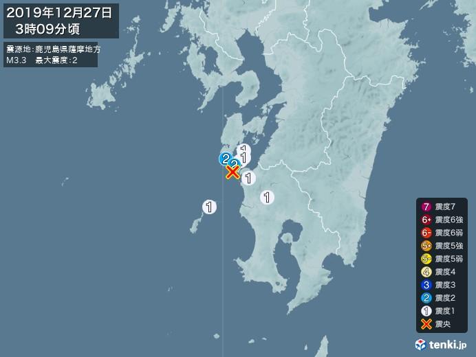 地震情報(2019年12月27日03時09分発生)