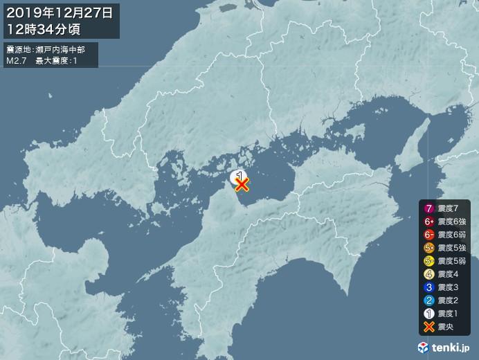 地震情報(2019年12月27日12時34分発生)