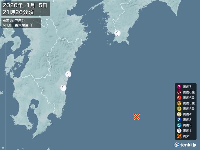 地震情報(2020年01月05日21時26分発生)