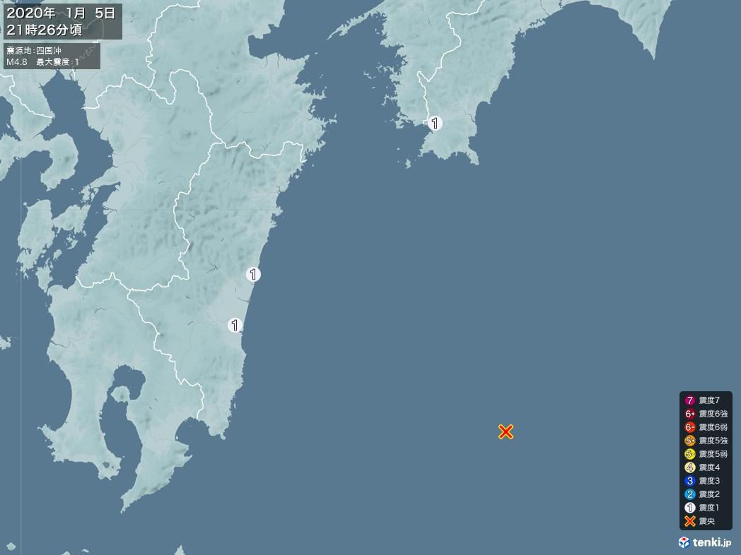 地震情報 2020年01月05日 21時26分頃発生 最大震度:1 震源地:四国沖(拡大画像)