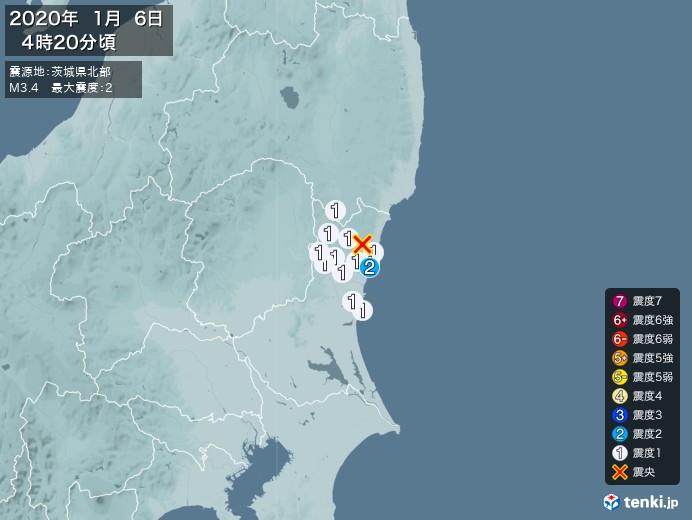 地震情報(2020年01月06日04時20分発生)