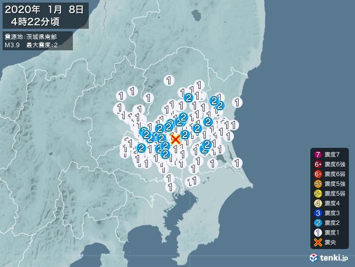 地震情報(2020年01月08日04時22分発生)