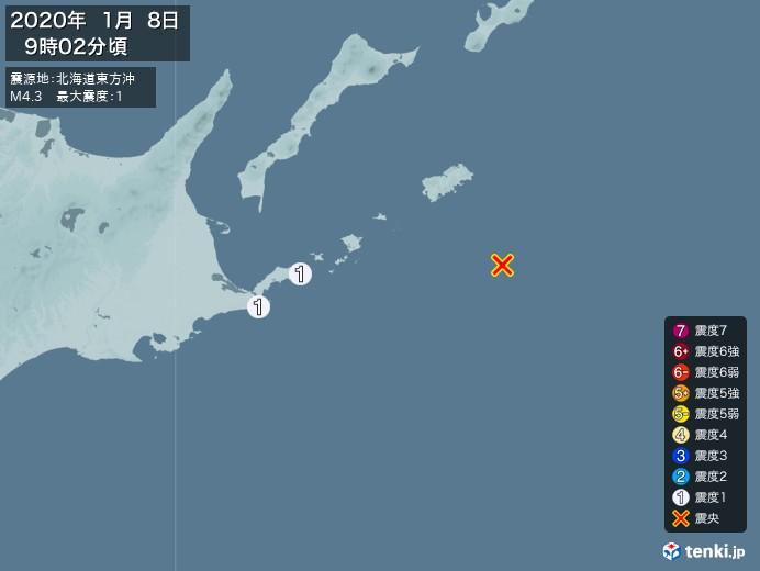 地震情報(2020年01月08日09時02分発生)
