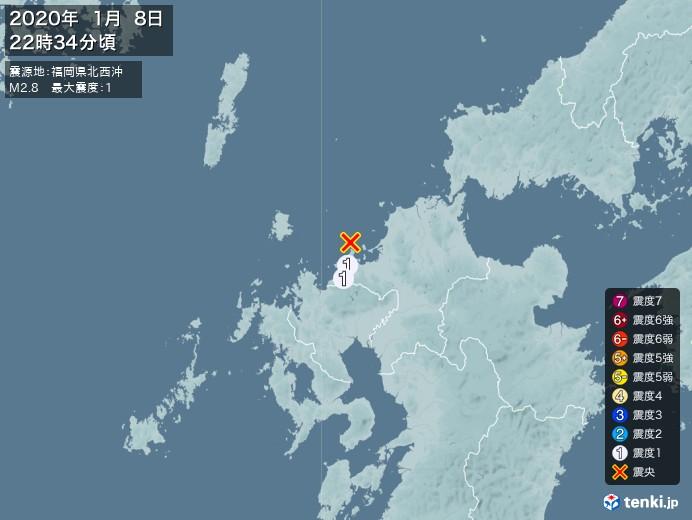 地震情報(2020年01月08日22時34分発生)