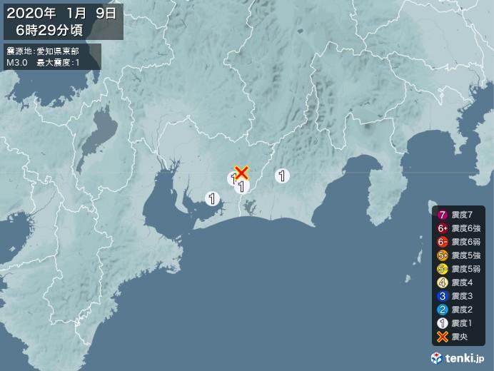 地震情報(2020年01月09日06時29分発生)