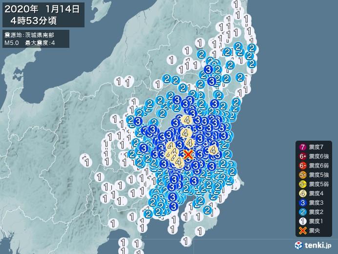 地震情報(2020年01月14日04時53分発生)