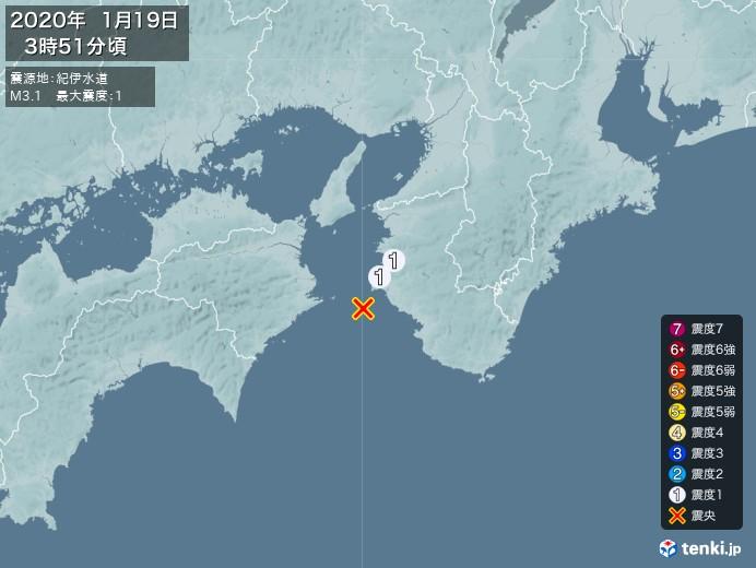 地震情報(2020年01月19日03時51分発生)