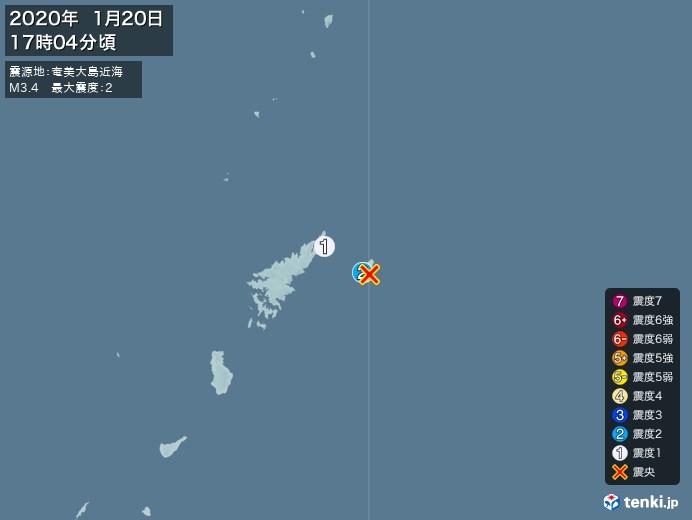 地震情報(2020年01月20日17時04分発生)